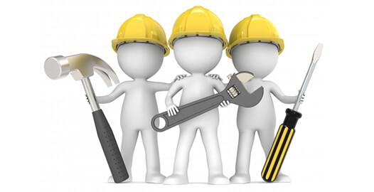3D-Männchen mit Werkzeug für Service & Wartung
