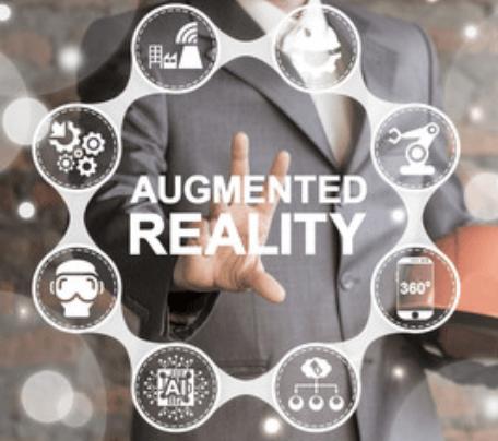 Beispielfoto mit dem Schriftzug Augmented Reality und Icons für mögliche Anwendungsbereiche