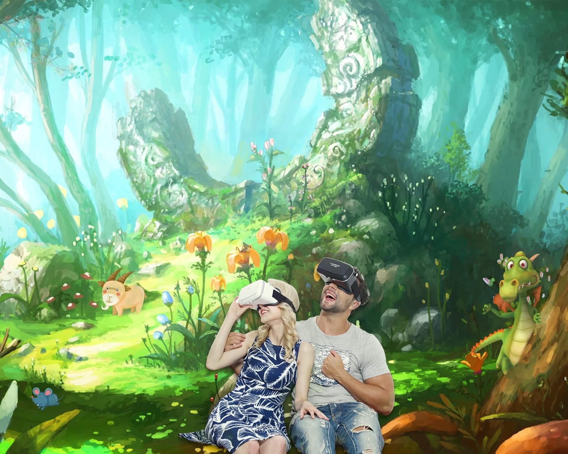 Mann und Kind mit Virtual Reality Brille