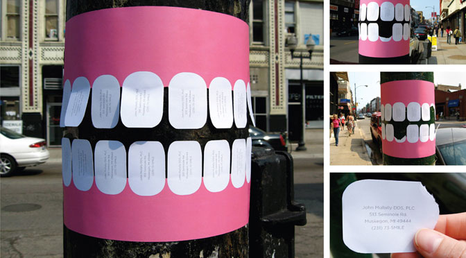 Guerilla Marketing Beispiel eines Zahnarztes