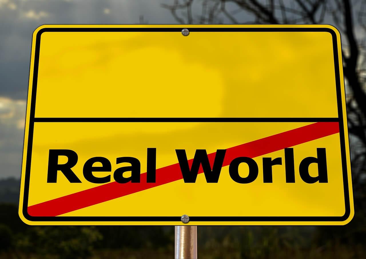"""Straßenschild mit der durchgestrichenen Aufschrift """"Real World"""""""
